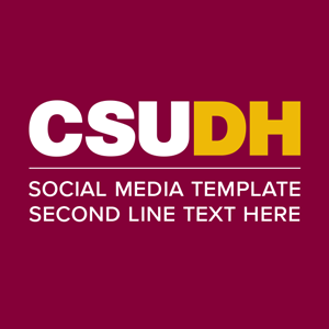 CSUDH social media icon example text on two lines