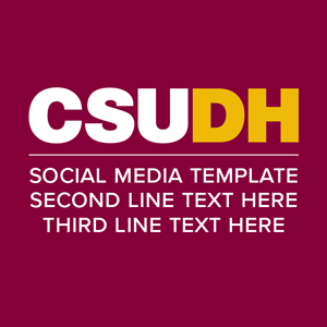 CSUDH social media icon example text on three lines
