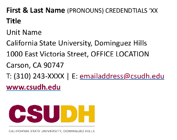 CSUDH email signature sample template