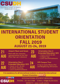 Fall 2019 CSUDH ISS New Student Orientation