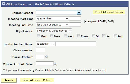 Screenshot of Expanded view of Additional Criteria