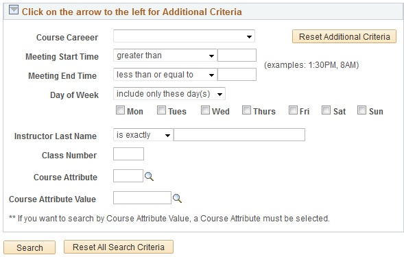 additional criteria menu