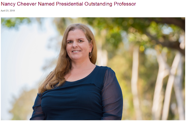 Dr. Nancy Cheever awarded the 2018 Presidential Outstanding Professor Award