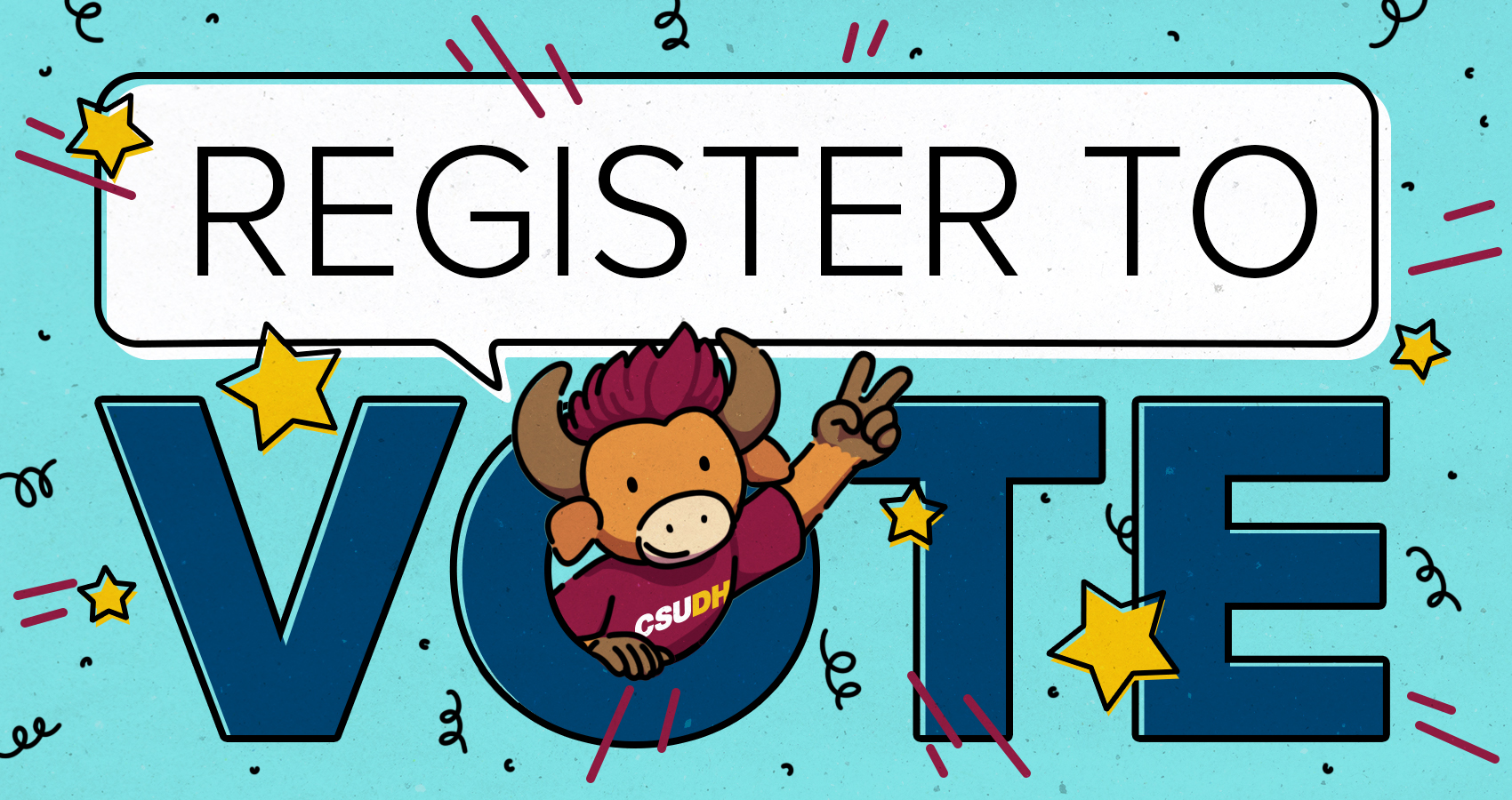 Teddy the Toro with text: Register to Vote