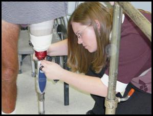 checking prosthetic leg