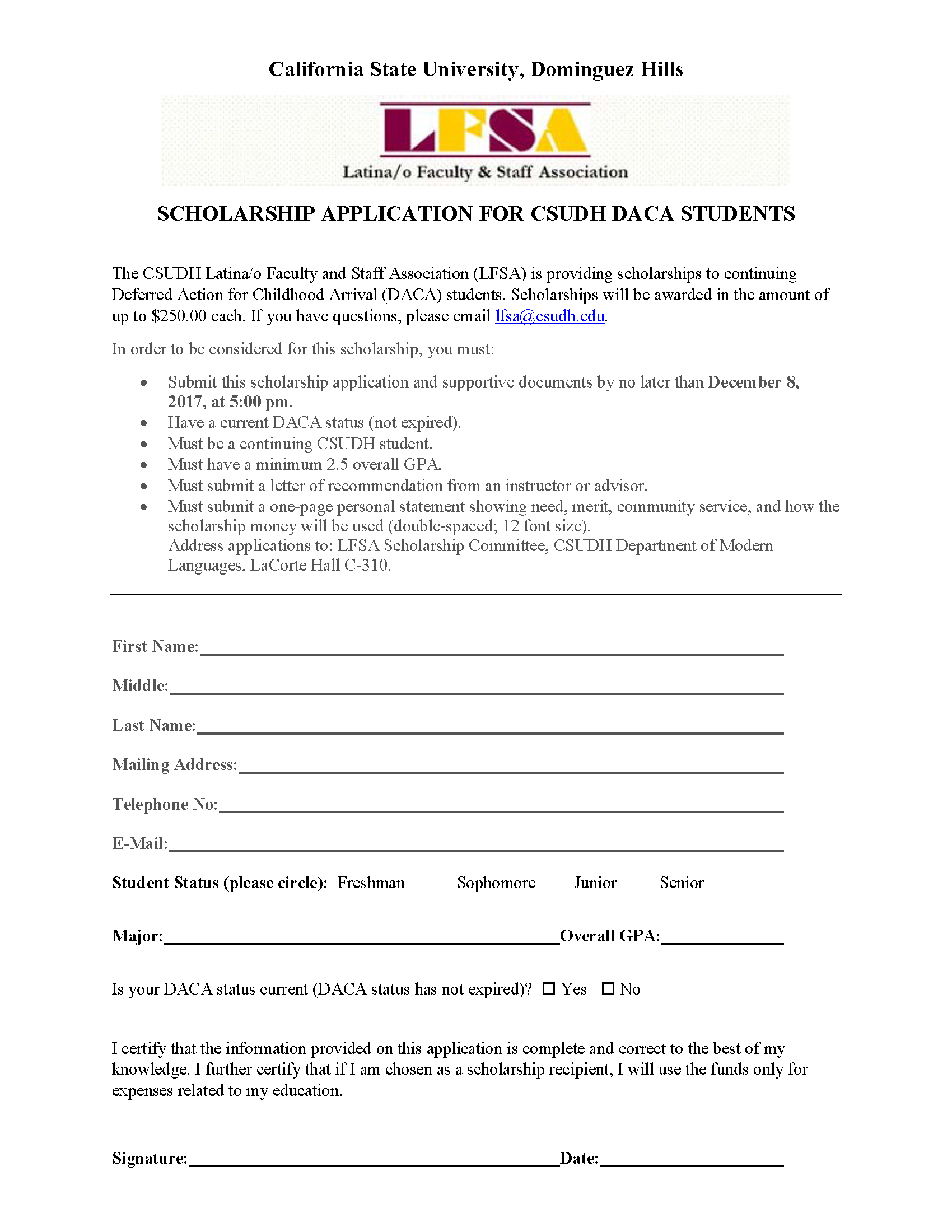 SCHOLARSHIP APPLICATION FOR CSUDH DACA STUDENTS