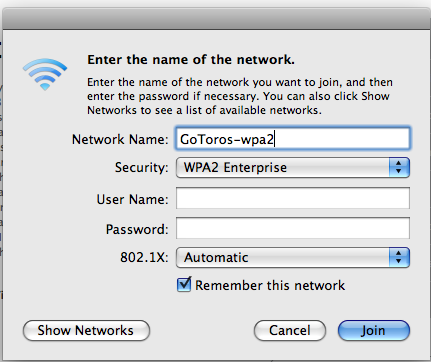 Screen shot of Enter the name of the network window