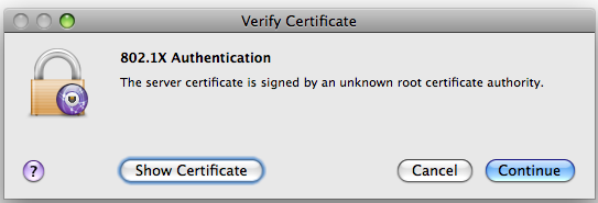 Screen shot of Verify Certificate window