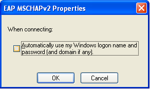 Screen shot EAP MSCHAPv2 Properties window