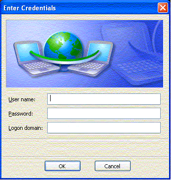 Screen shot of Enter Credentials window