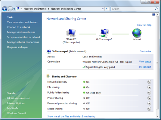 Screen shot of Network and Sharing Center window