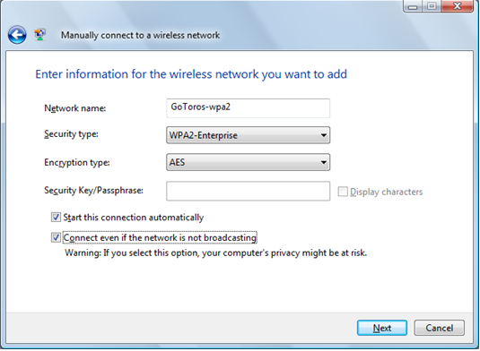 Screen shot of Manually connect a wireless network window