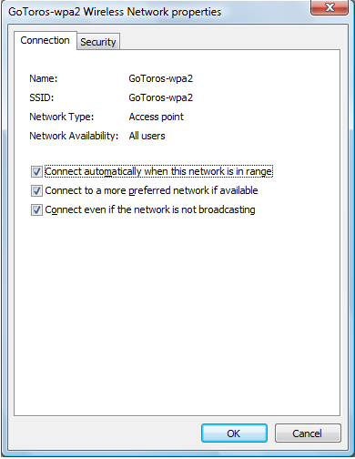 Screen shot of GoToros wpa2 Wireless Network Properties window