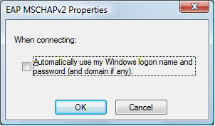 Screen shot of EAP MSCHAPv2 Properties window