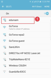mobile device selecting Edu roam as WiFi network