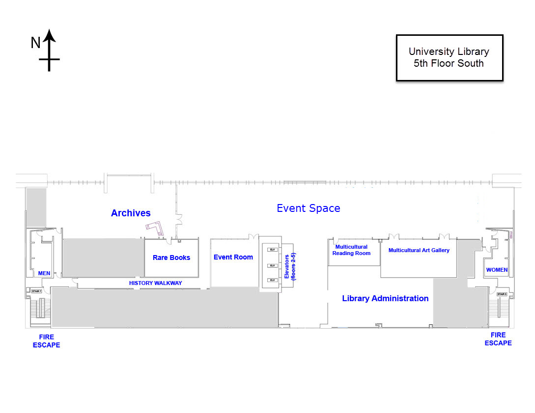 Floor plan of the 5th floor of the library south showing entrances, exits, administration offices, archives and special collections areas, even spaces, and the multicultural reading room.