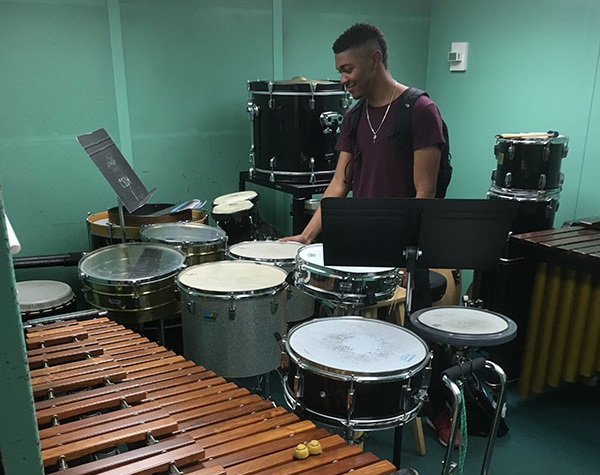a percussion player