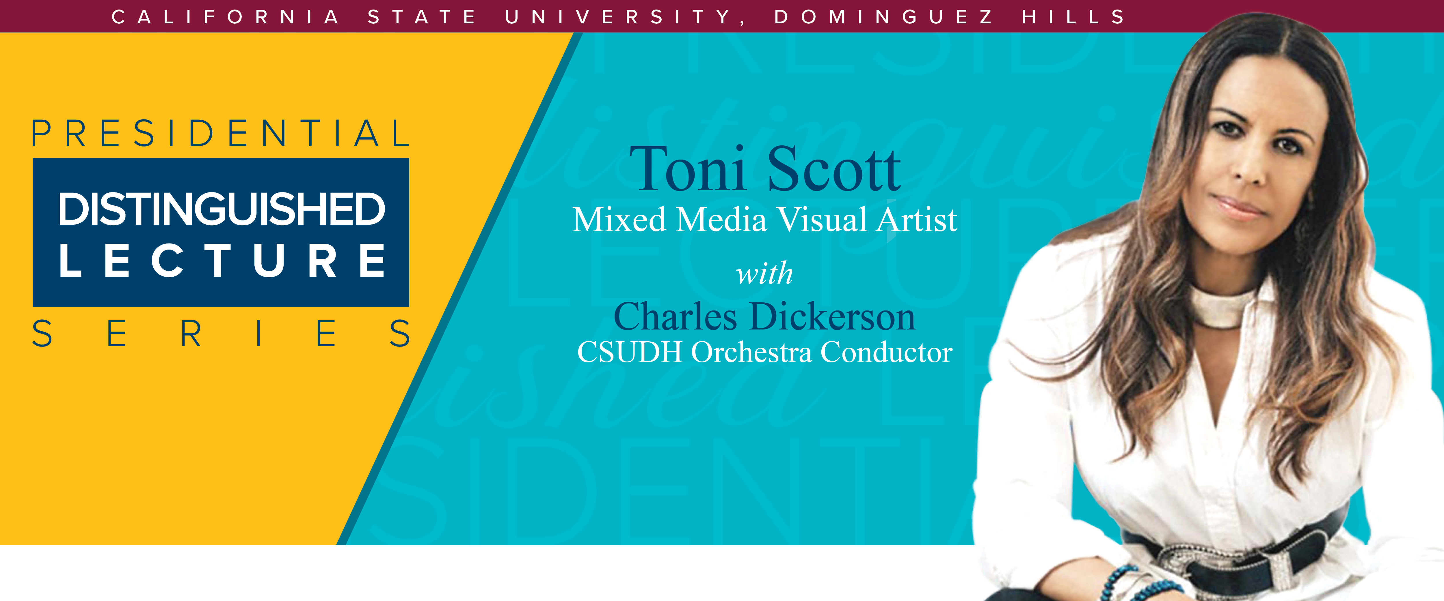Toni Scott, Mixed Media Visual Artist with Charles Dickerson CSUDH Orchestra Conductor