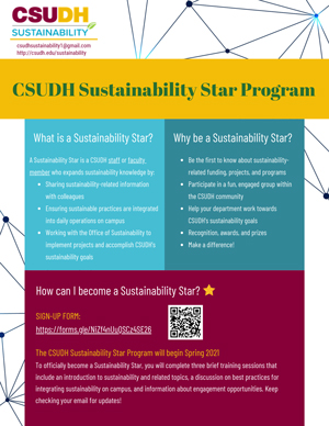 Click to download the CSUDH Sustainability Star Program Flyer [PDF]