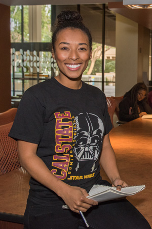 CSUDH student studying in University Library