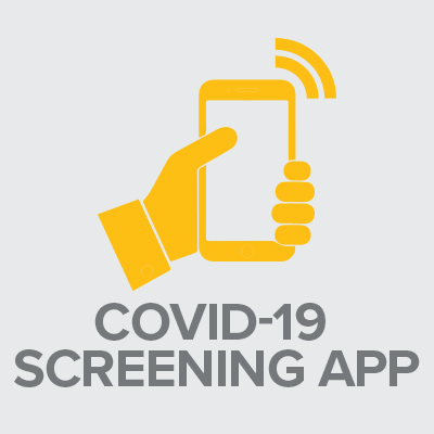Icon with text: COVID-19 Screening App