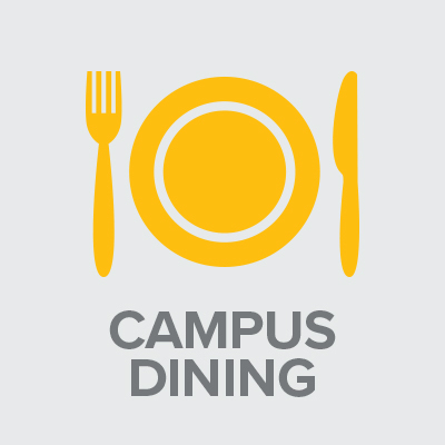 Icon with text: Campus Dining