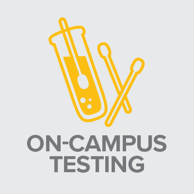 Icon with text: On-Campus Testing