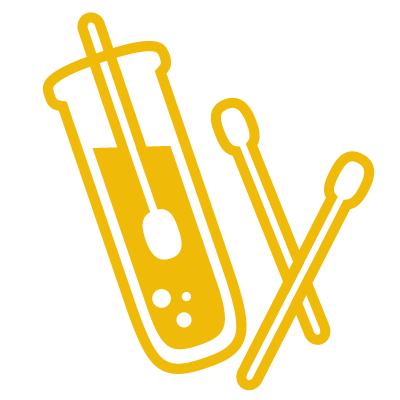 Testing icon depicting swabs and a test tube